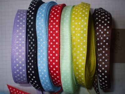 POLKA DOT GROSGRAIN RIBBON 10mm x  10 yds Choice of Colour